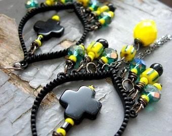 Obsidian - beautiful gypsy black stone, teal crystal, striped yellow trade bead & chain draped tribal chandelier earrings