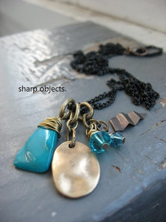 TEAL - wire wrapped shell, gold stamped tag, faceted crystal & metalwork leaf charm and chain NECKLACE
