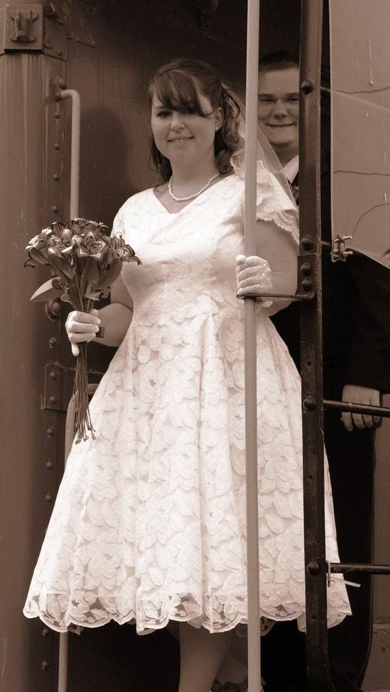 Wedding Dress Lace over Taffeta Retro Style tea length Made to Order