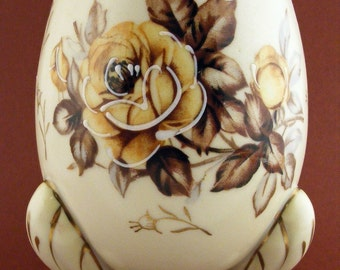 Vintage Napco Egg Planter Vase Footed Brown Floral