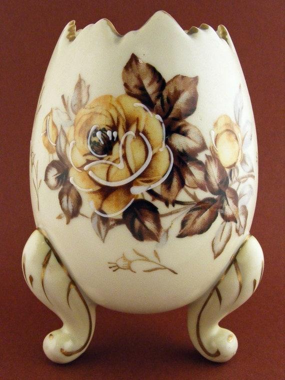 Vintage Napco Egg Planter Vase Footed Brown Floral