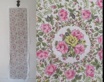 vintage 50s Pink Rose Dresser Scarf, Table Runner with Filet Crochet Lace Edges