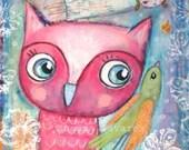 Owl bird fairy wall art print baby girl nursery decor mixed media art Pink spring