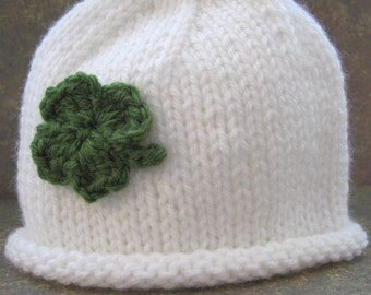 Lucky Clover Rolled Brim Beanie Hat for Baby:  Newborn, 3 - 6 Months, or 6 -12 Months St. Patrick's Day