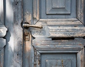 blue doors with handle, abstract  photography, 8x12 architecture photo, lock, entrance, blue, gray, rustic country home decor