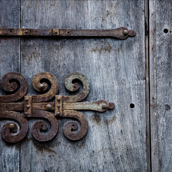 ornamental rusty hinge photography, 12x12 print, wooden doors, architectural detail, blue gray, wood grain, weathered, urban wall decor