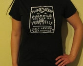 Your Heart is a Muscle the Size of Your Fist, Small, Black T Shirt - Silkscreen punk shirt Unisex Men Women punk tshirt anarchist occupy