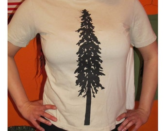XL Tree Shirt - Giant Douglas Fir Tree Print, Extra Large, Off White TShirt, tee, natural beige, earth first, forest trees, redwood, pine