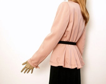 Vintage 1950s Peplum Jacket Rose Pink Curvy Jacket / Small to Medium