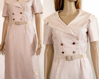 Vintage 1950s Dress Wide Collar Cream Chocolate Pencil Dress /  Small to Medium