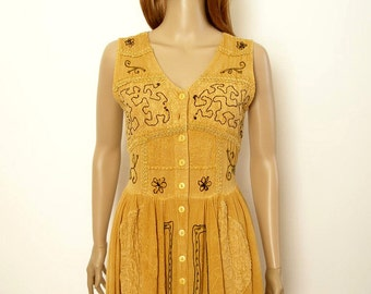 Vintage 1990s Dress Embroidered Gauze Mustard Gold Button Front Midi Dress / Small