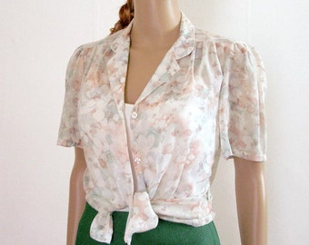 Vintage 1960s Semi Sheer Blouse Pastel Floral Soft Shirt Blouse / Small