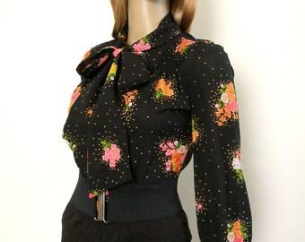 Vintage 1970s Blouse Black Tangerine Floral Tie Neck Blouse / Extra Small