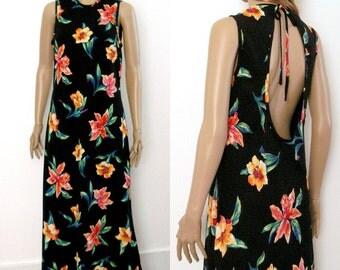 Vintage 1980s Maxi Dress Open Back Tropical Black Floral Long Dress / SM