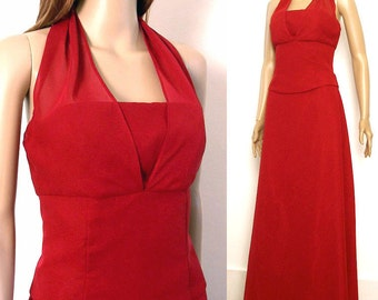 Vintage 1980s Evening Gown Cranberry Red Chiffon Halter Dress / Small