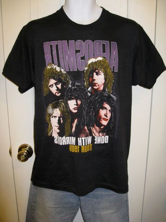 Vintage 1986 Aerosmith Concert Tour 1980s Rock Band T-shirt size XL Done with Mirrors Ted Nugent