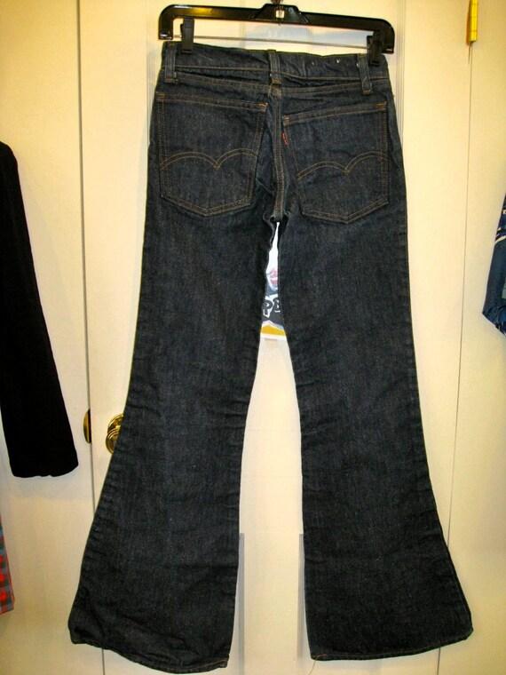 Vintage 1970's Levi's 684 Bell Bottom Denim Wide Flare Blue Jeans 28X32 Hip Hugger