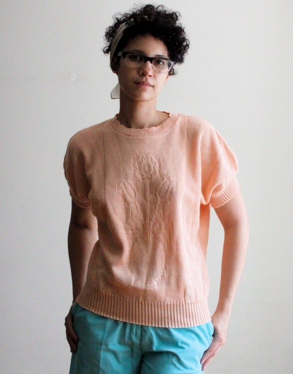 1980's peach rose knit top