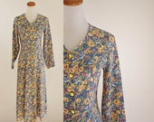 Vintage 90s Floral Dress -- 1990s Grunge Dress-- Yellow Floral Dress-- Small