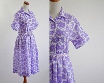 Vintage Shirtwaist Dress --  80's Lavender Purple & White Floral -- Small Medium Petite