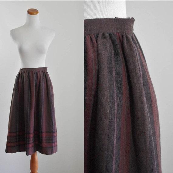 Vintage Wool Pendleton Skirt -- 70s Striped Plaid Skirt -- 1970s Boho Skirt -- Flared Skirt -- Medium
