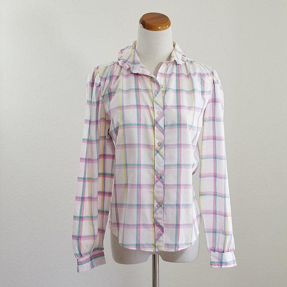 Vintage Button Down Blouse 80s Pastel Plaid Shirt By