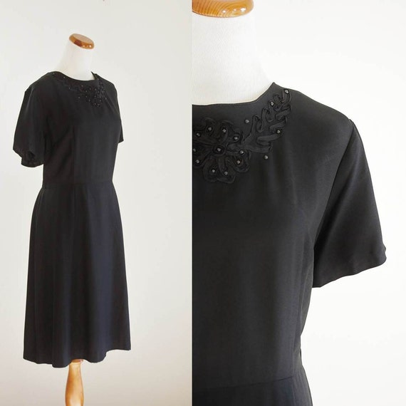 Vintage 50s Black Dress -- 1950s Dress -- Rayon Beaded Cocktail Dress -- XL