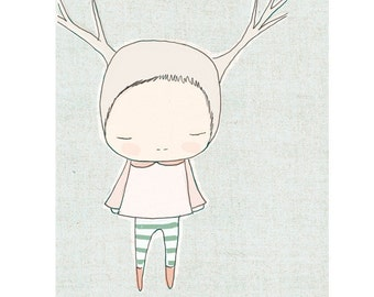 Nursery wall decor animal-  Little Reindeer Girl With Stripy Socks Blue