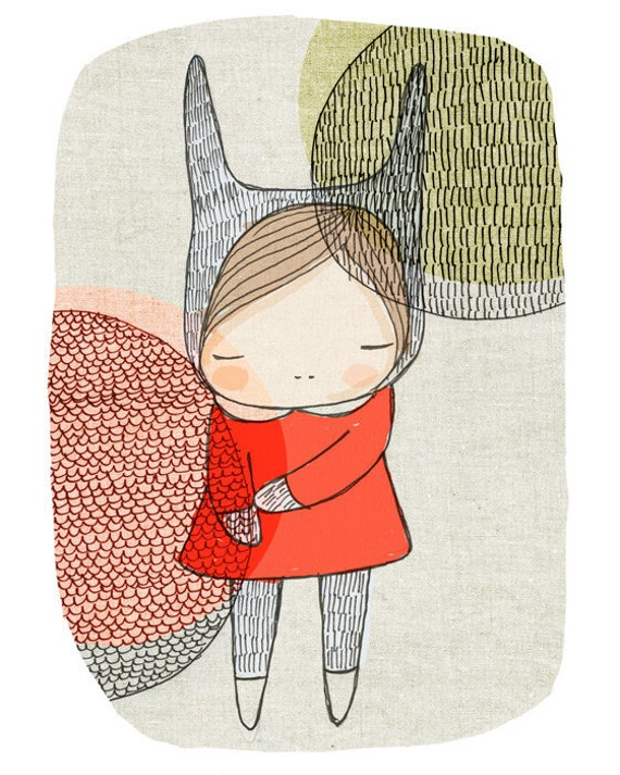 Art for Nursery - Bunny Rabbit Art Print 8x10 Children's