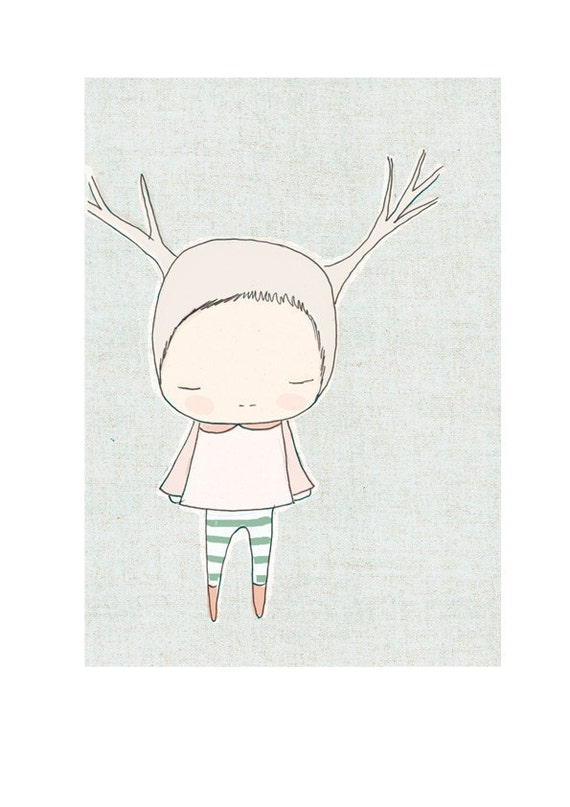 Nursery wall decor animal-  Little Reindeer Girl With Stripy Socks Blue