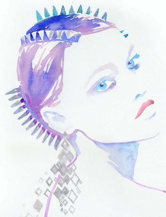 Original Watercolour Fashion Illustration. Titled - Maison Michel Trois Punk Spikes