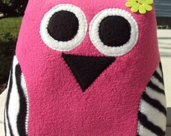 Hot Pink Zebra Owl Pillow - Plush Owl - XL Owl Pillow