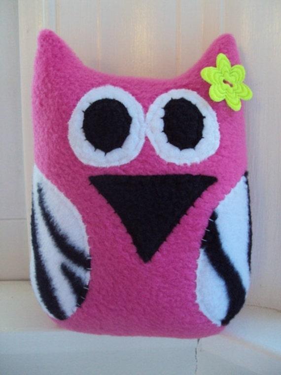 Hot Pink Zebra Owl Pillow - Stuffed Owl