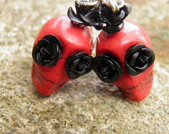 Day of the Dead Earrings Red Turquoise Skull Jewelry Frida Kahlo Jewelry Rockabilly Jewelry Goth Day of the Dead Jewelry Halloween Earrings