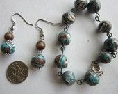 Blue Swirls Bracelet w/ earrings