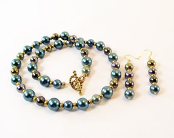 Pearl Necklace Set - Teal Metallic Shell Pearl Necklace and Earring Set - Teal Pearl Necklace Set