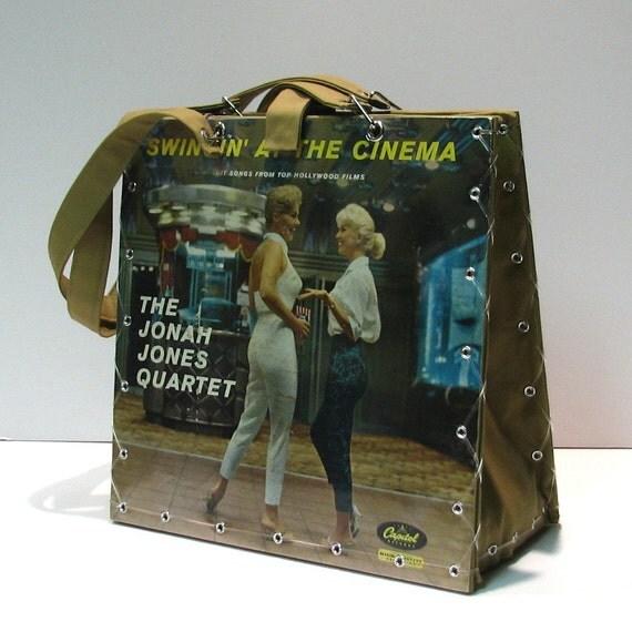 ON SALE 1/2 off - Vintage Swingin at the Cinema Record Album Handbag Tote Purse