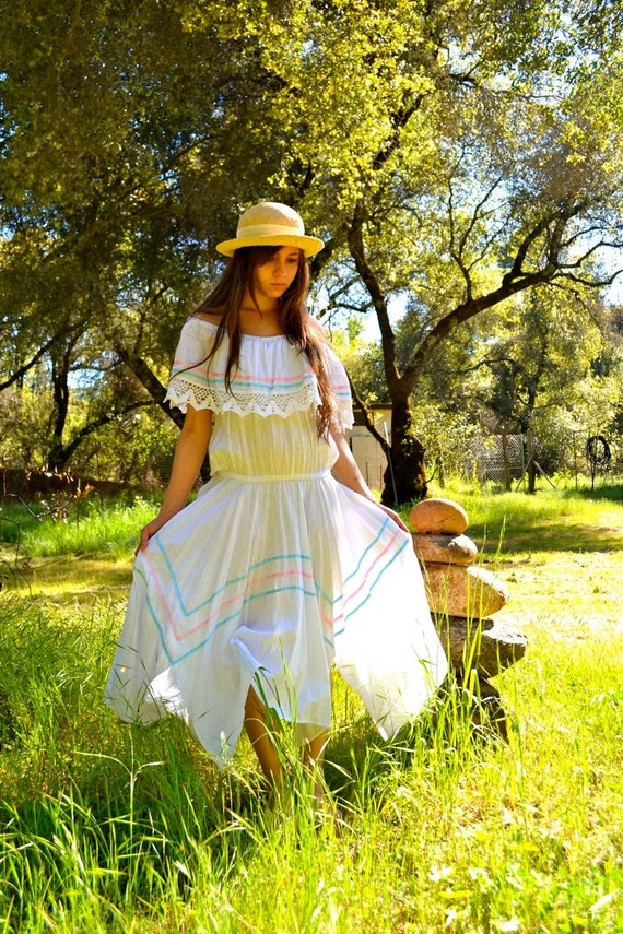 Blame It On My Wild Heart 70's White with Pink and Blue Ribbon Mexican Asymmetrical Hem Sundress
