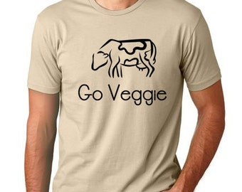 Go Veggie funny T shirt screenprinted  Vegetarian Humor Tee