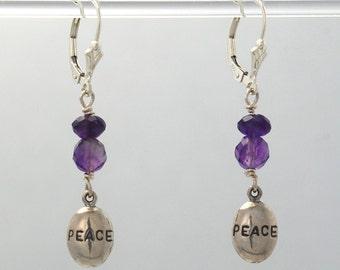 Amethyst PEACE BEADS earrings (Amethyst, Sterling Silver Peace beads, Sterling Silver lever backs)