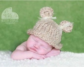 Bear Knit Hat for Baby, Adorable Photography Prop, Choose Your Color