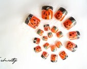 Pumpkin Nail Art Kawaii Carved Faces patch orange pedicure toenail fake nails Jack O Lantern black