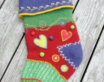 PATTERN-BOOKLET. A Knit & Felt Crazy Quilt Holiday Stocking Pattern