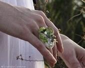 Felted Eco Fashion Ring -- GRASSHOPPER