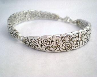 Silver Spoon Bracelet Wedding Jewelry Bridesmaid Bracelet Silverware Jewelry Silver - FLORAL BOUQUET 1960