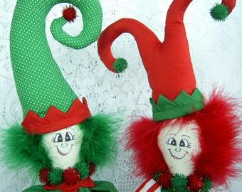 Elf Elves PinHead Happy Face(TM) Christmas Set