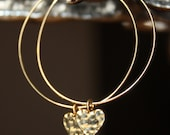 16k gold hammered heart charm hoop earrings E90-G