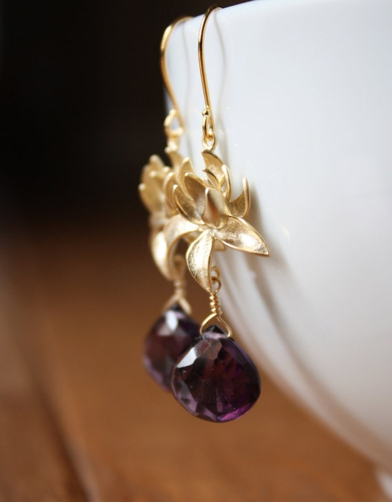 Purple amethyst heart briolettes and gold lotus bloom earrings E105-G