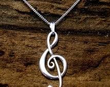 Silver Treble Clef Pendant, Music pendant , Handmade, G- clef pendant, Sterling Silver, Music Jewellery.