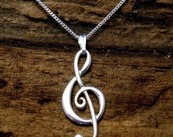 Treble Clef Pendant, Treble Clef Necklace, Music pendant, Sterling Silver, Music Jewellery, Handmade ,G- clef, Music Gifts.